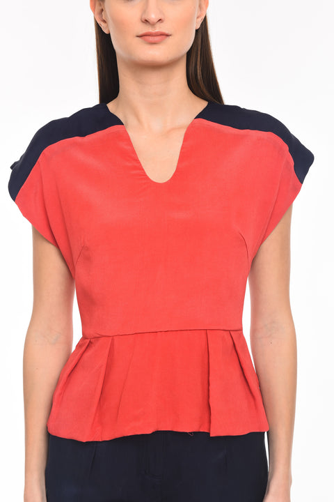 Agaati Color Blocked crape silk Top - Front close-up
