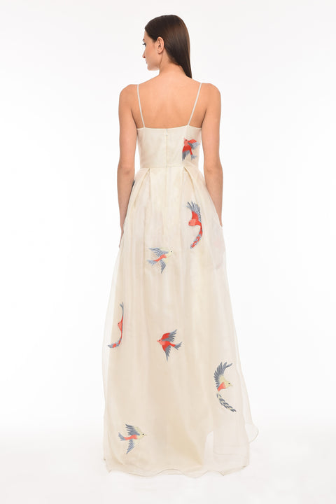Agaati Long Embroidered Ivory silk organza Dress - back