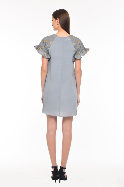 Agaati Grey Shift Dress With Pocket - Back