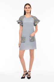 Agaati Grey Shift Dress With Pocket - Front
