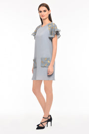 Agaati Grey Shift Dress With Pocket - Side