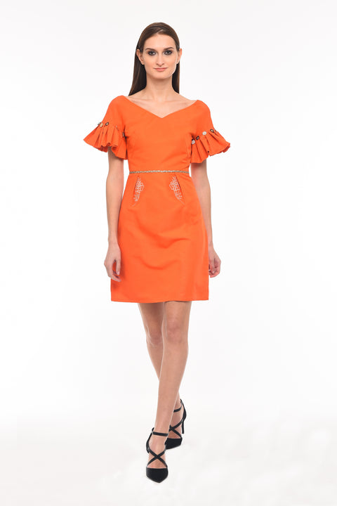 Agaati Orange Silk Midi Dress - Front