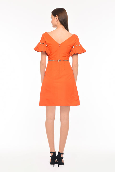 Agaati Orange Silk Midi Dress - back