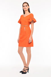 Agaati Orange Silk Midi Dress - Side