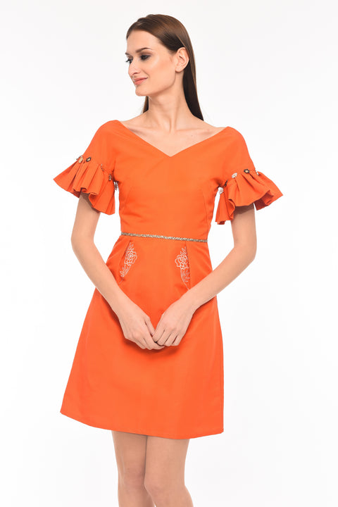 Agaati Orange Silk Midi Dress - Front Close-up
