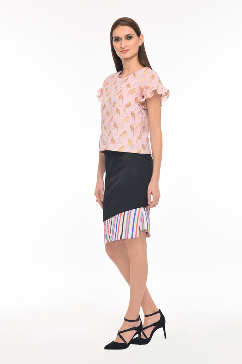 The new cool top - Agaati Burnt Pink with bird pattern cotton top - side