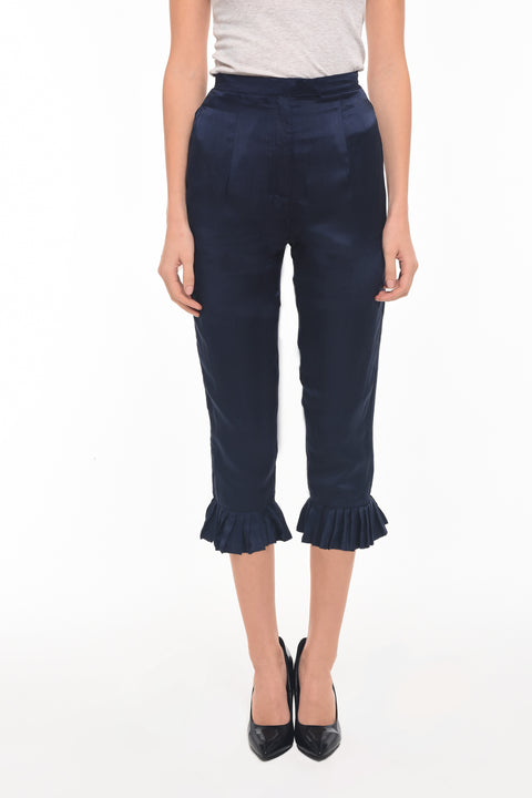 Cropped Silk Pant with Pleat Detail - AGAATI