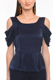 Draped Sleeve Navy Top - Front close-up