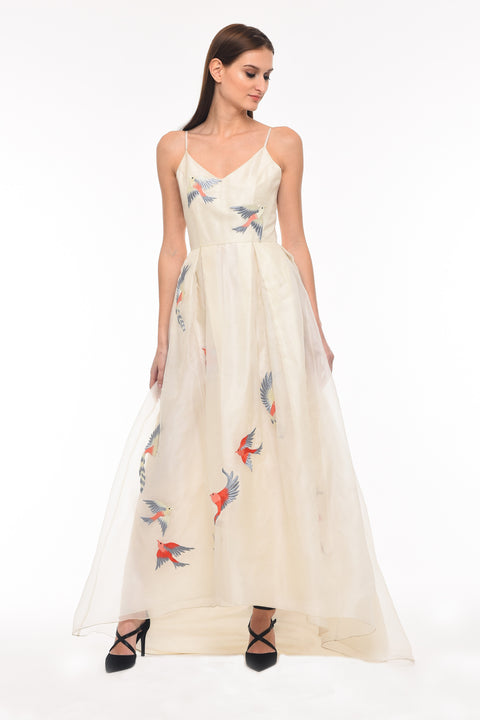 Agaati Long Embroidered Ivory silk organza Dress - front 3