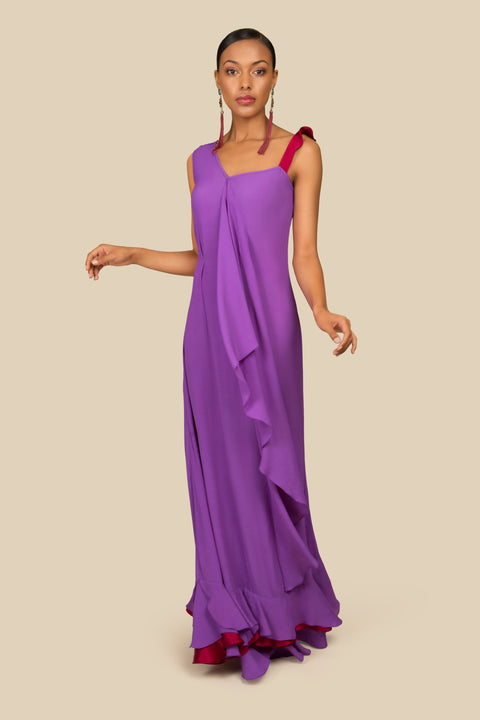 Long evening silk dress - AGAATI