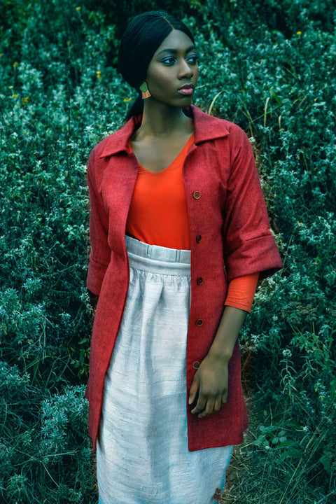 Red Mid Length Coat