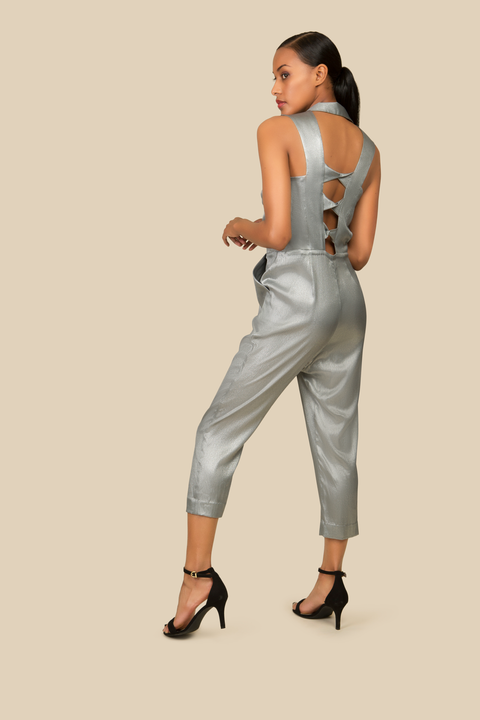 Agaati Silver Silk Jumpsuit with front zipper - Back