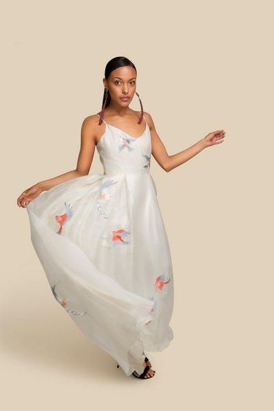 Agaati Long Embroidered Ivory silk organza Dress - front 1