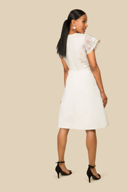 Agaati Silk Embroidered White Dress - back 2