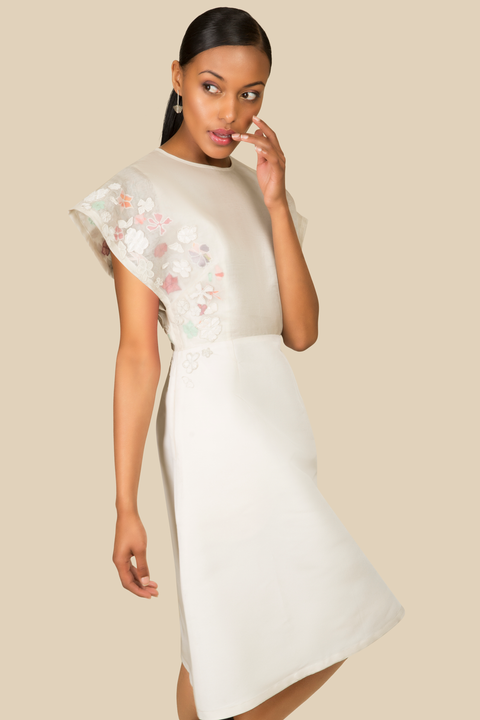 Agaati Silk Embroidered White Dress - side close-up