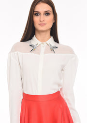 Flight of Freedom - Agaati White Collared Shirt with Embroidery - Front close-up