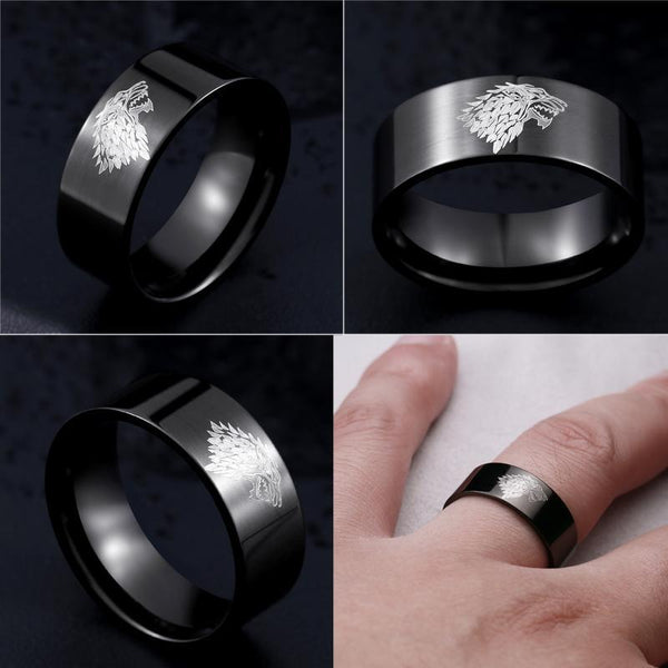 update alt-text with template House Stark Stainless Steel Ring (4 Colours) - 50% DISCOUNT-Ring-Always-Amazing-6-Black-Always-Amazing-Game-of-Thrones-Winter-Is-Coming-April-2019