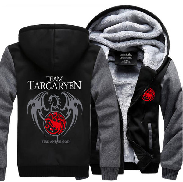 update alt-text with template Team Targaryen Hoodie Fleece Jacket - 40% OFF +XTRA 20% OFF LIMITED TIME-jacket-Always-Amazing-dark gray black-M-Always-Amazing-Game-of-Thrones-Winter-Is-Coming-April-2019