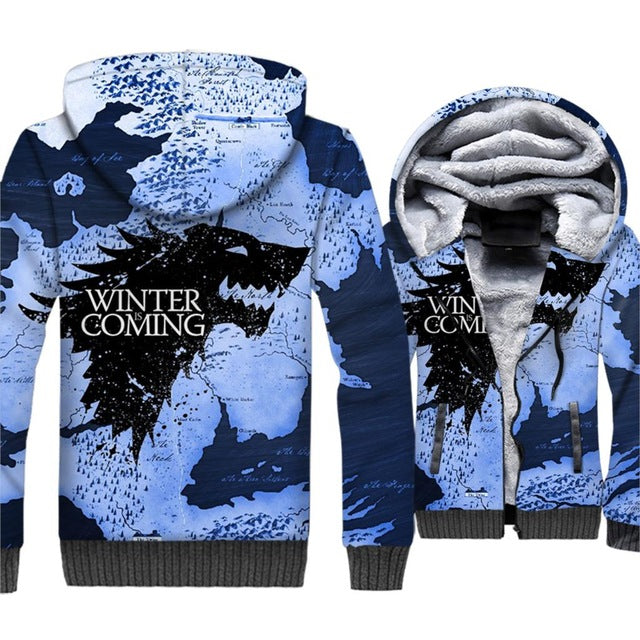 **NEW for 2019** - Winter Is Coming!  Snow Camouflage Thrones Hoodie Fleece Jacket - 40% OFF + XTRA 30% OFF Limited time!
