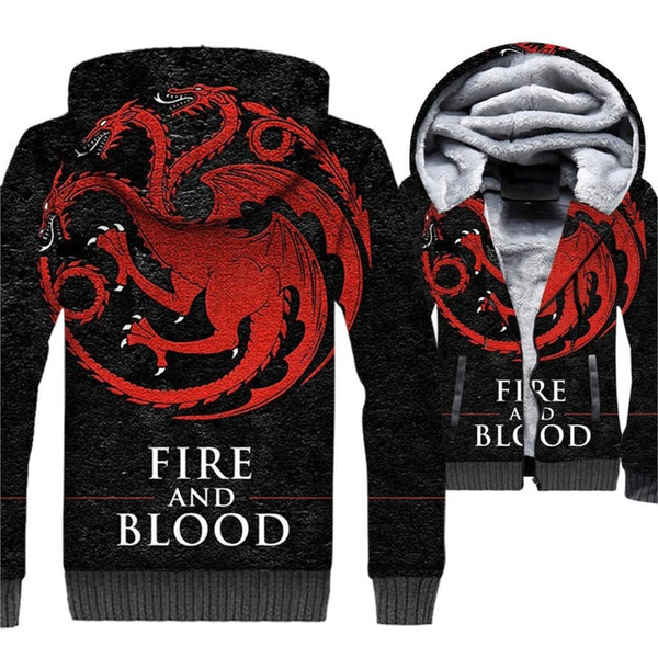 update alt-text with template *2018 New and Exclusive* - Distressed Targaryen Fire And Blood Dragon Fleeced Jacket - 40% OFF + XTRA 30% OFF Limited Time ONLY-jacket-Always-Amazing-Black/Red-XL-Always-Amazing-Game-of-Thrones-Winter-Is-Coming-April-2019