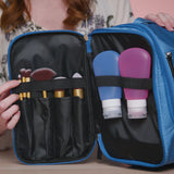AmElegant Travel Toiletry Bag for Women - Spacious Hanging Makeup Organizer Great for Travels & Home