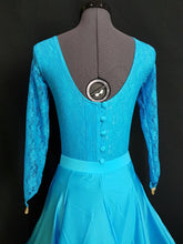 Juvenile Dress with Lace, Buttons & Crinoline - Turquoise - Girls Size 10