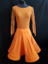 Juvenile Dress with Lace, Buttons & Crinoline - Orange - Girls Size 10