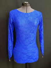 Juvenile Dress with Lace, Buttons & Crinoline - Royal Blue - Girls Size 16