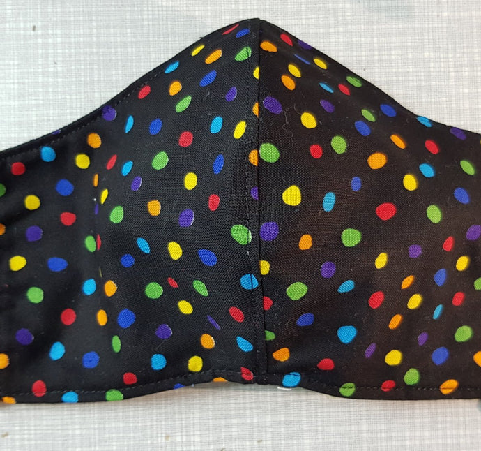 Face Mask - Black & Coloured Dots