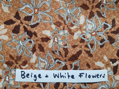 Face Mask - Beige & White Flowers