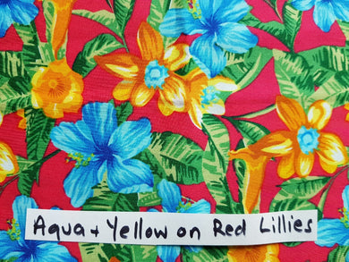 Face Mask - Aqua & Yellow on Red Lillies