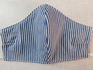 Face Mask - Denim & White Stripe
