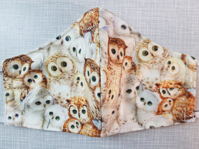 Face Mask - Owls Beige
