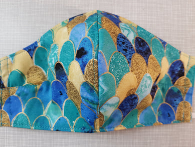 Face Mask - Turquoise and Gold Pattern