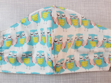 Face Mask - Owls Blue