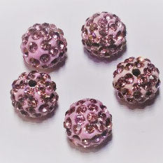 Diamante Ball Beads - Light Amethyst