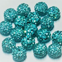 Diamante Ball Beads - Aquamarine