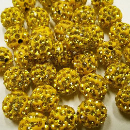Diamante Ball Beads - Citrine