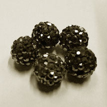 Diamante Ball Beads - Hematite