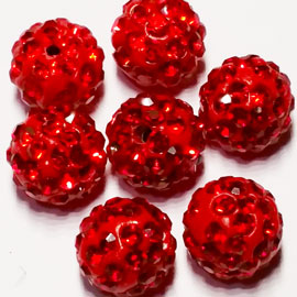 Diamante Ball Beads - Light Siam