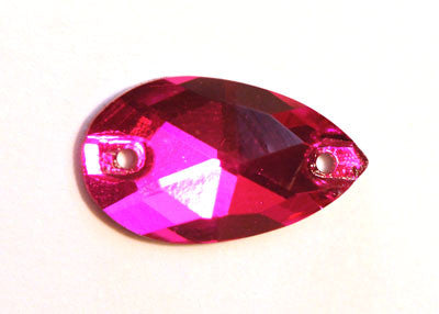 Teardrop Sew-On 11 x 18mm - Fluro Fuschia
