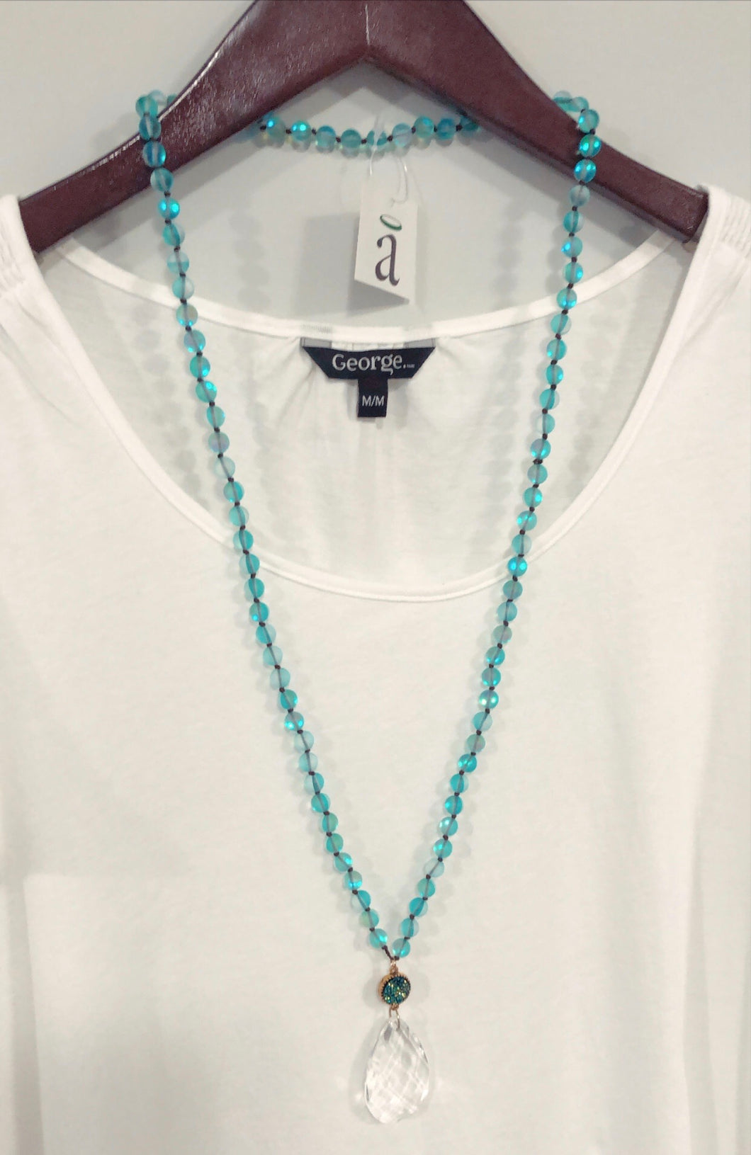 Teal glass necklace
