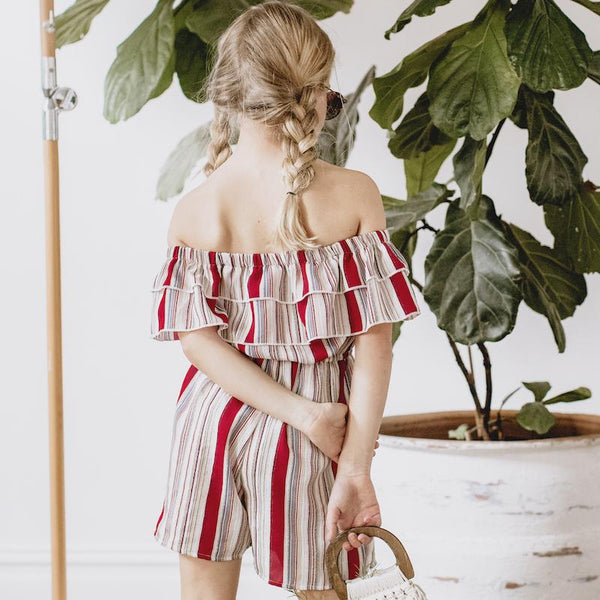 Summah Striped Frill Jumpsuit