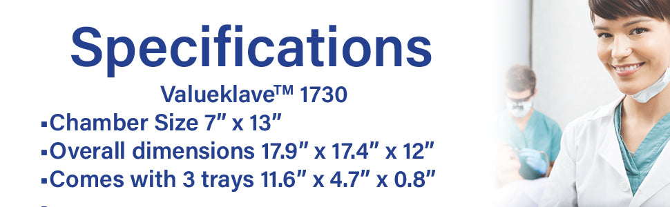 picture of the specifications of the valueklave 1730