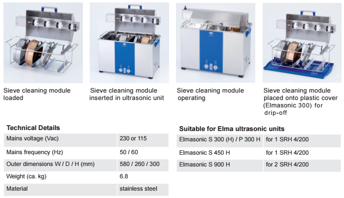 elmasonic sieve cleaning module srh 4/200