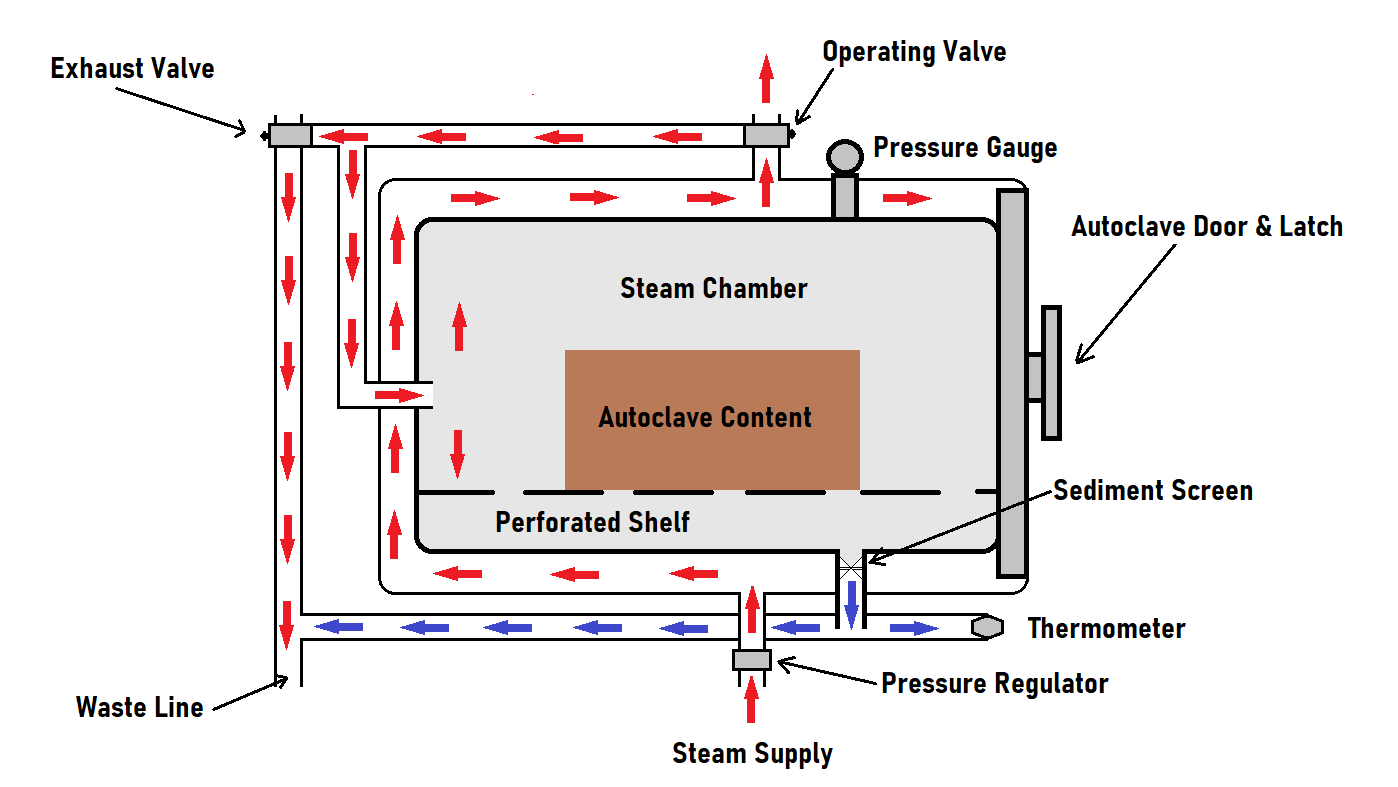 Example of steam sterilization inside of an autoclave