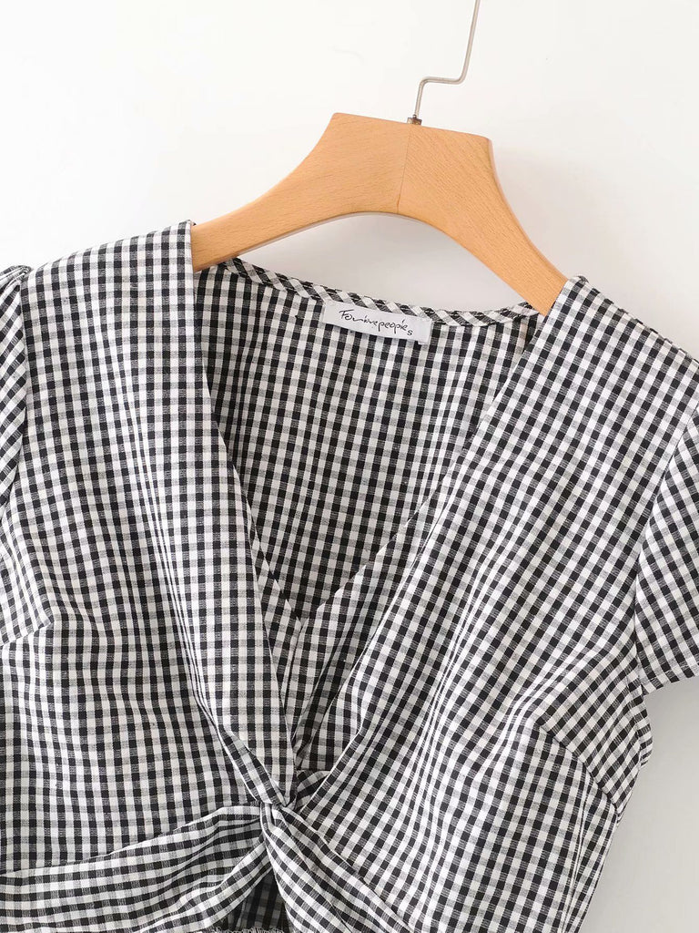 Plaid Twist Front V-Collar Shirt