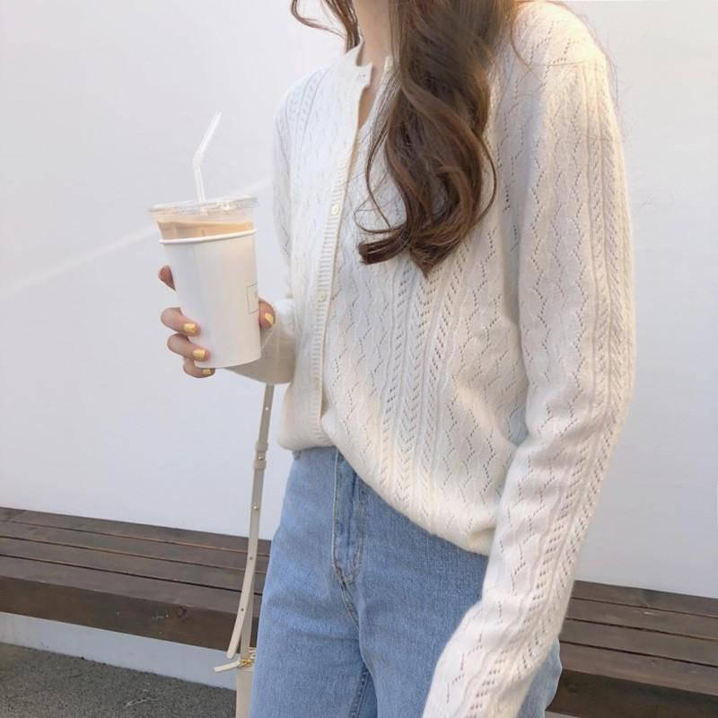 Wool Knitted Crew-Neck Cardigan