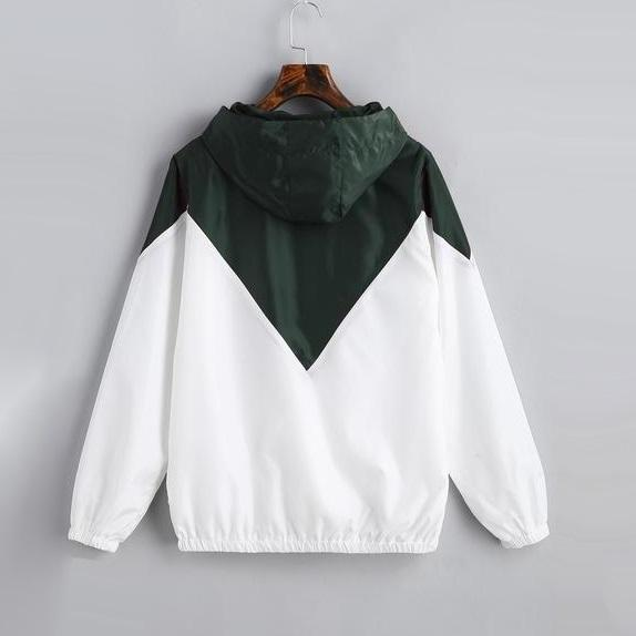 Two Tone Colorblock Lined Windbreaker Jacket
