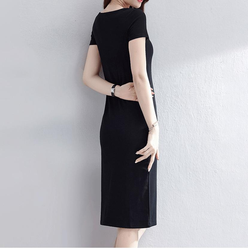 Crisscross Neck T-Shirt Dress